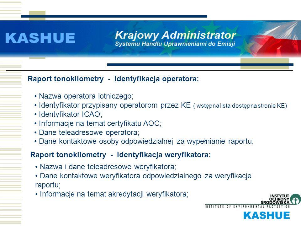 Raport tonokilometry - Identyfikacja operatora: