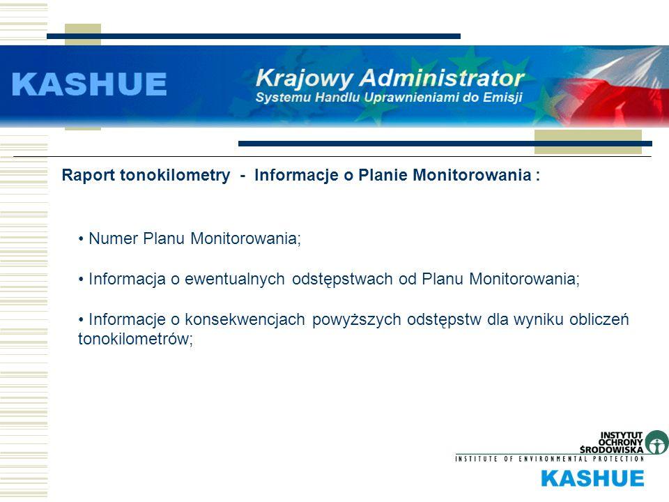 Raport tonokilometry - Informacje o Planie Monitorowania :
