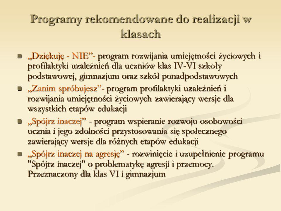 Programy rekomendowane do realizacji w klasach