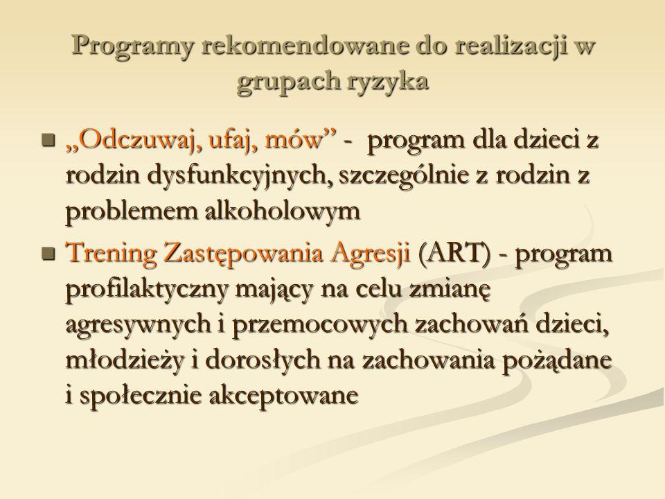 Programy rekomendowane do realizacji w grupach ryzyka