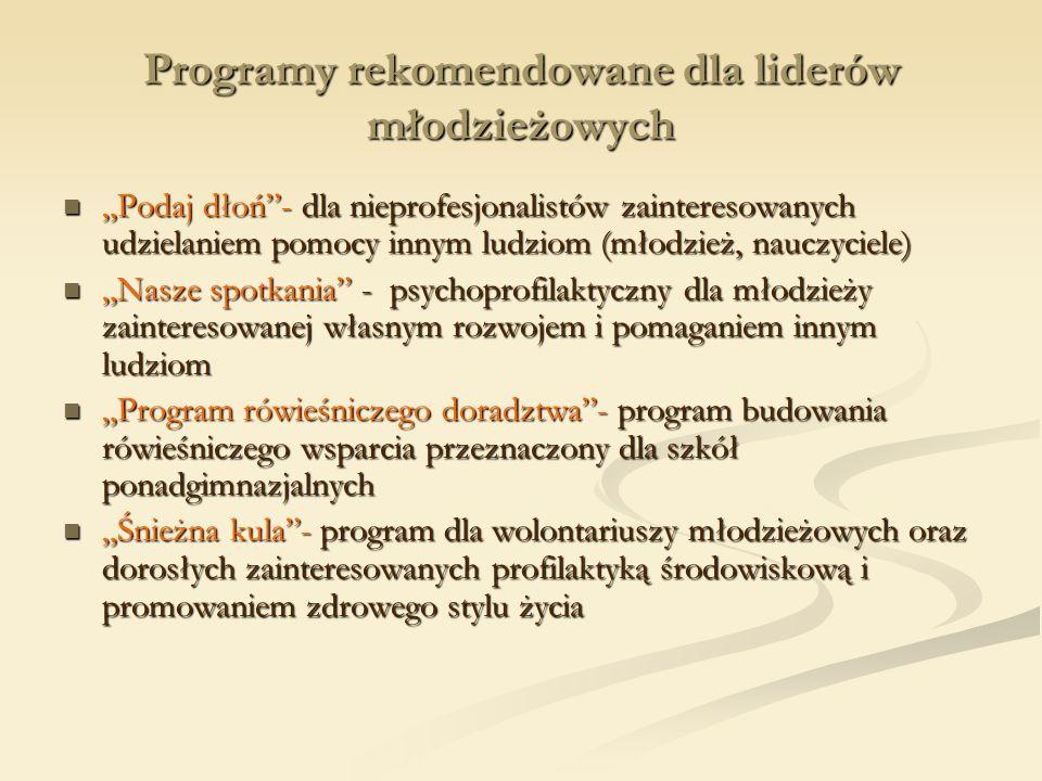 Programy rekomendowane dla liderów młodzieżowych