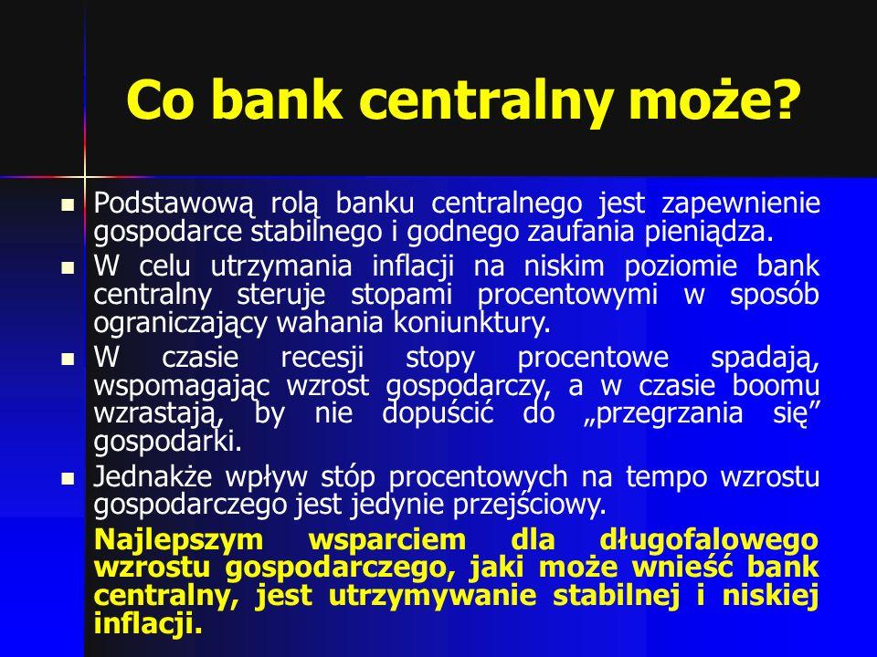 Co bank centralny może Podstawową rolą banku centralnego jest zapewnienie gospodarce stabilnego i godnego zaufania pieniądza.