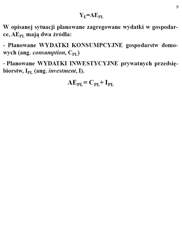 YE=AEPL W opisanej sytuacji planowane zagregowane wydatki w gospodar-ce, AEPL mają dwa źródła: