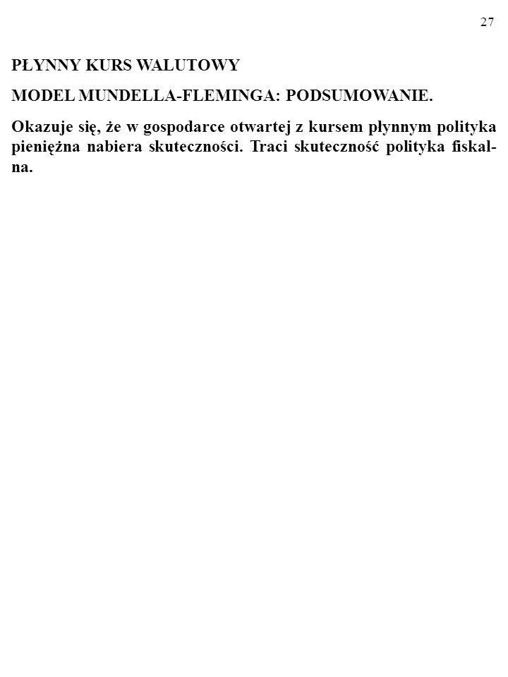 PŁYNNY KURS WALUTOWYMODEL MUNDELLA-FLEMINGA: PODSUMOWANIE.