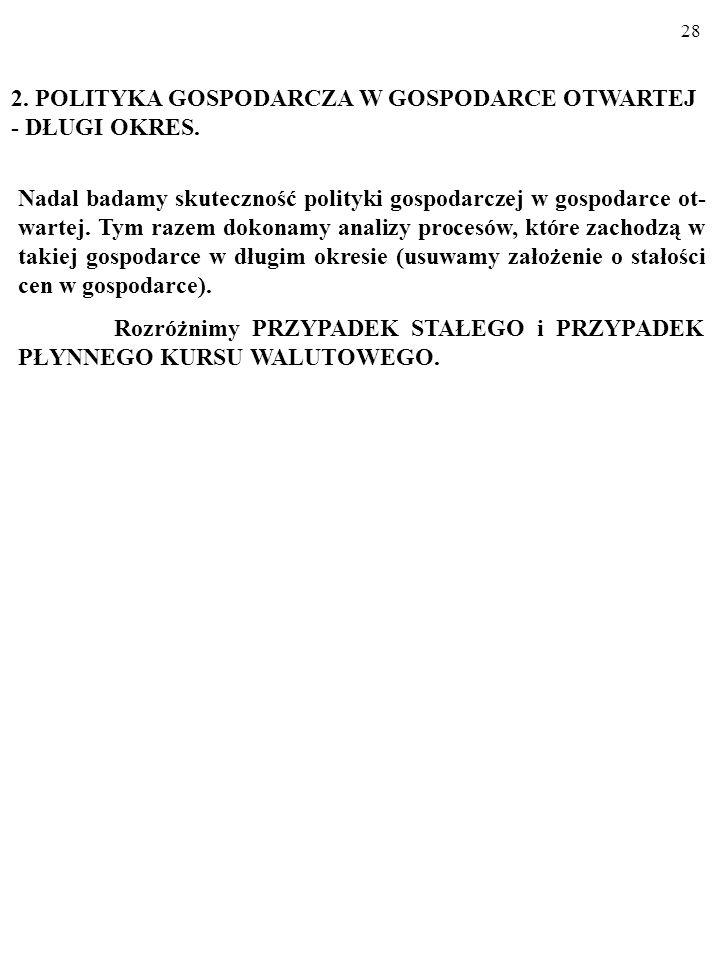 2. POLITYKA GOSPODARCZA W GOSPODARCE OTWARTEJ - DŁUGI OKRES.