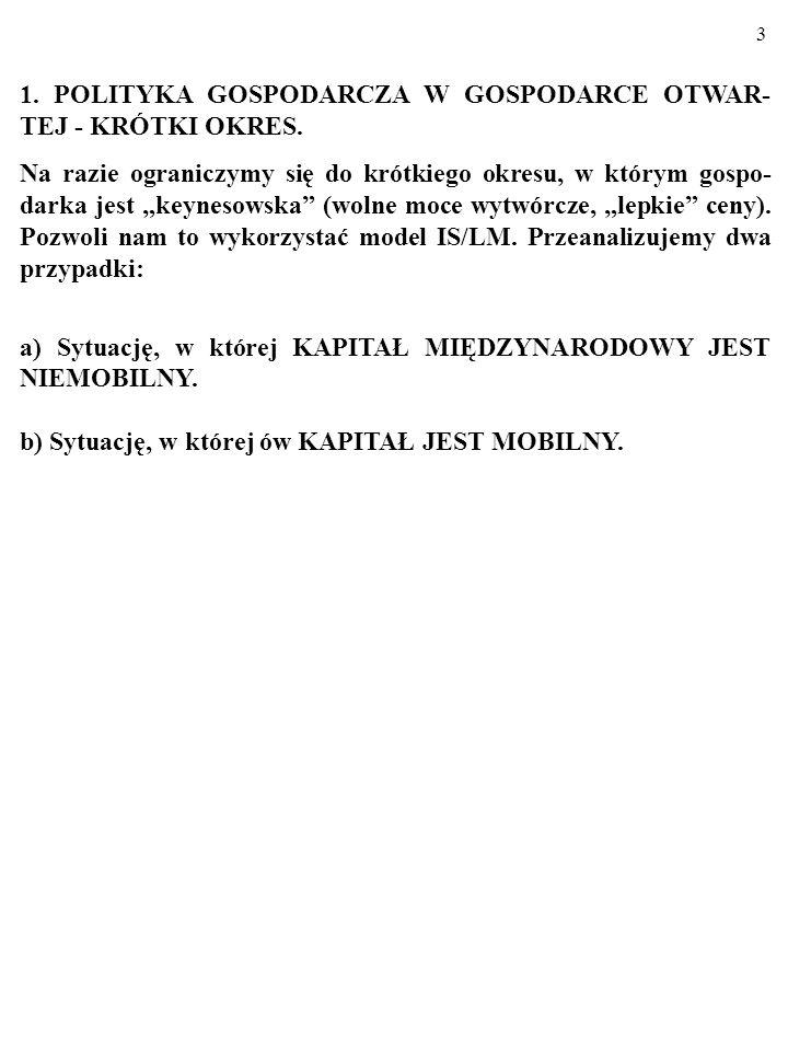 1. POLITYKA GOSPODARCZA W GOSPODARCE OTWAR-TEJ - KRÓTKI OKRES.