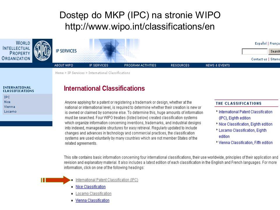 Dostęp do MKP (IPC) na stronie WIPO http://www. wipo
