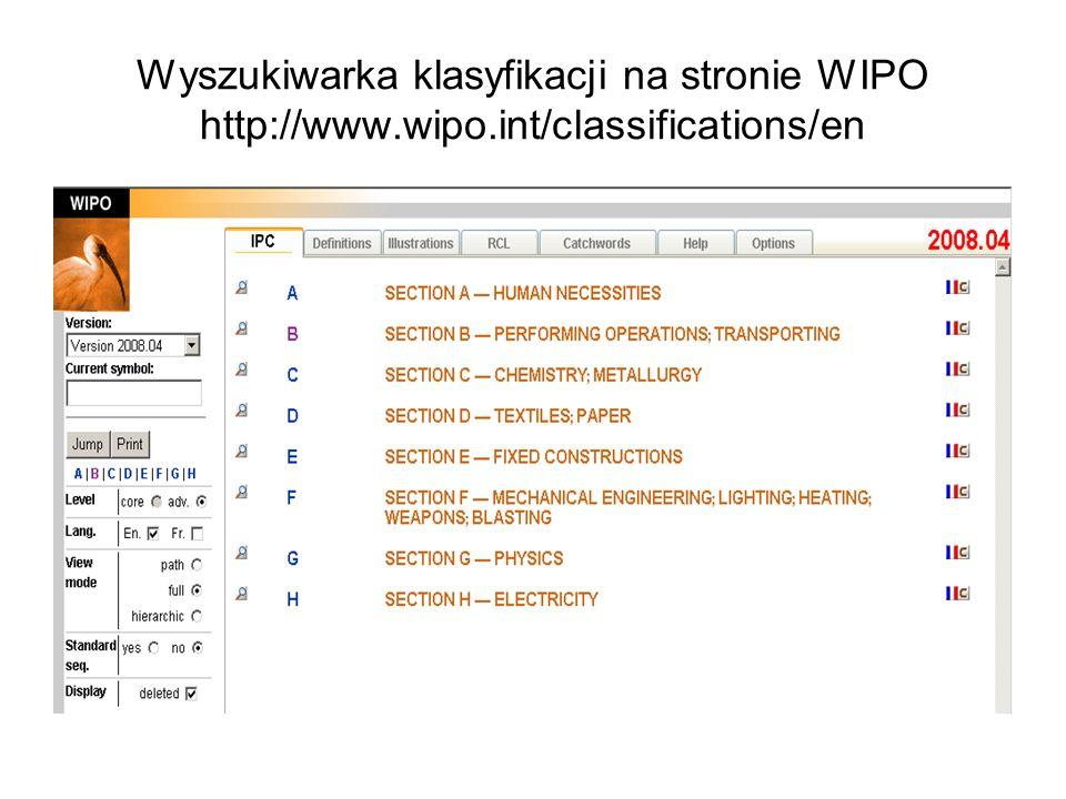 Wyszukiwarka klasyfikacji na stronie WIPO http://www. wipo