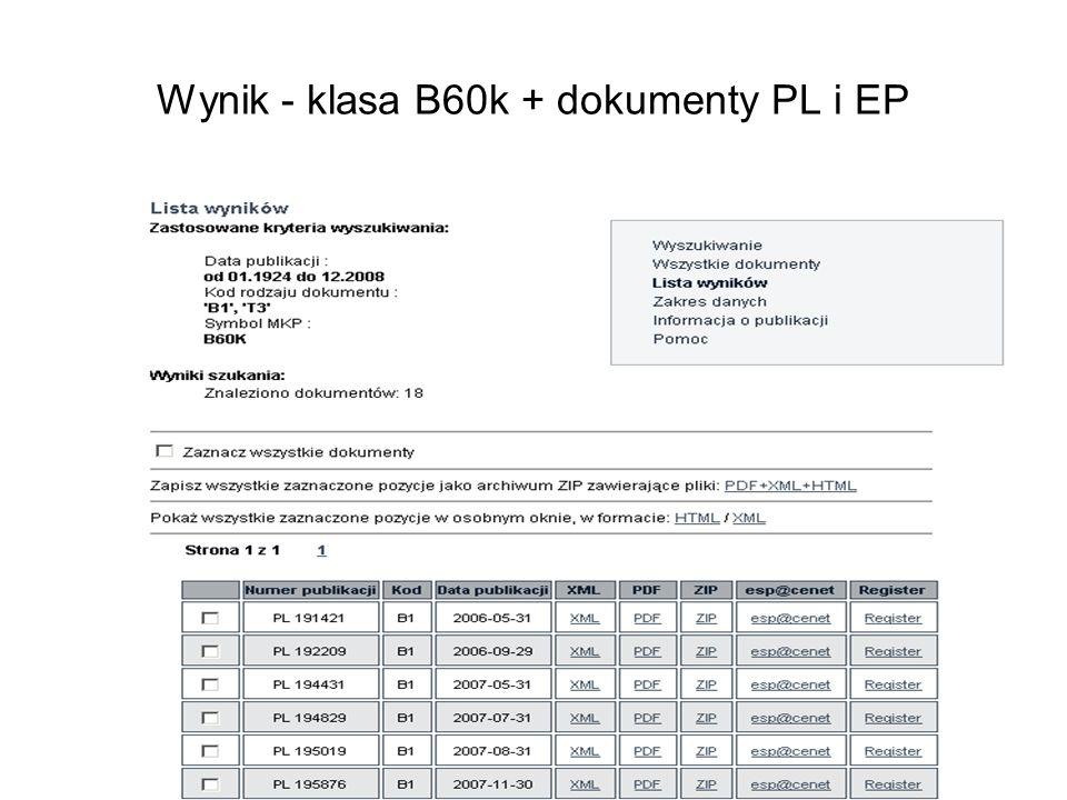 Wynik - klasa B60k + dokumenty PL i EP