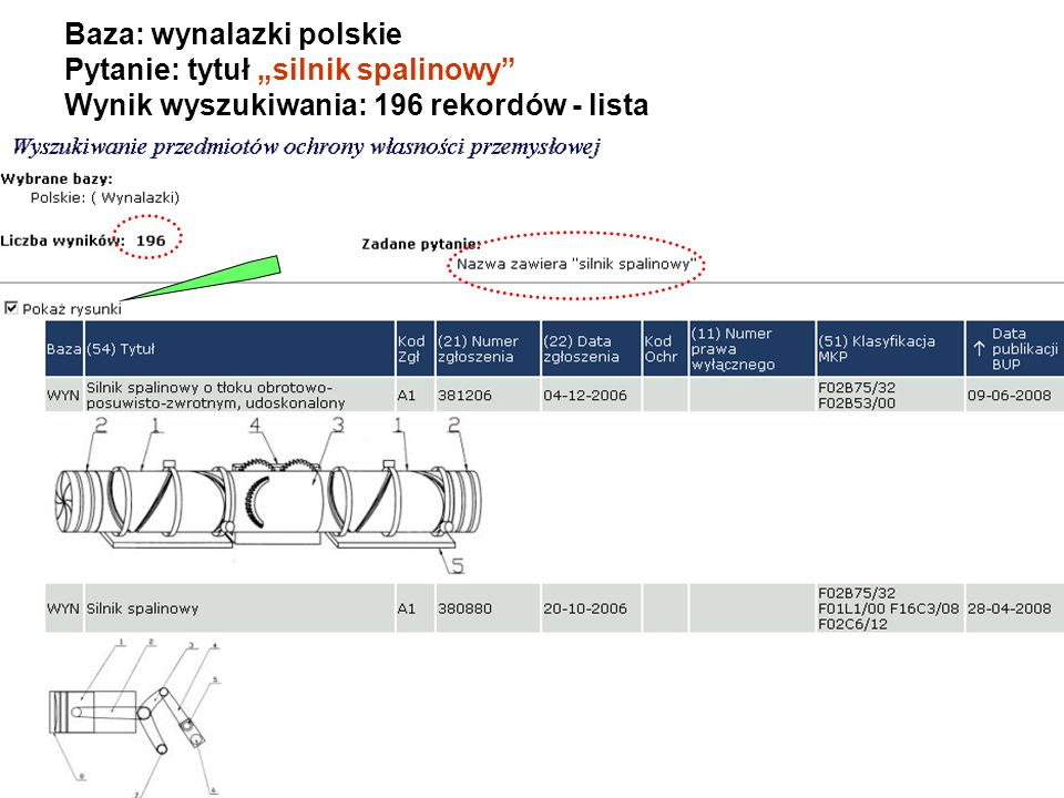 """Baza: wynalazki polskie Pytanie: tytuł """"silnik spalinowy Wynik wyszukiwania: 196 rekordów - lista"""