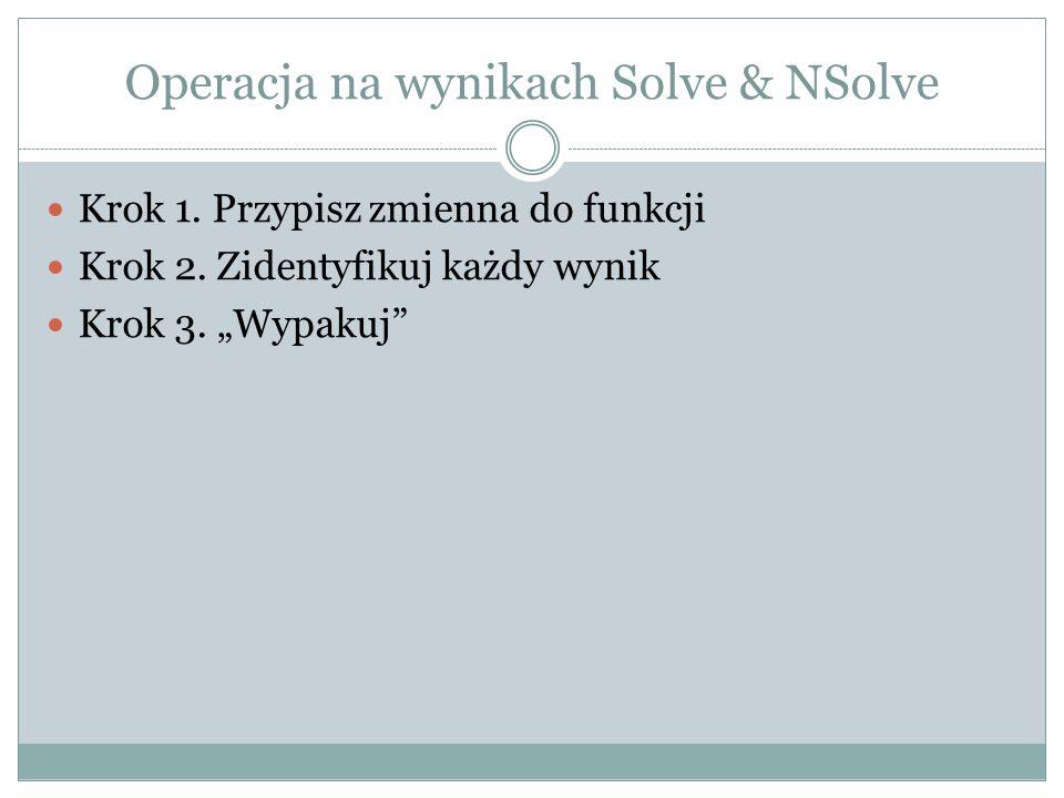 Operacja na wynikach Solve & NSolve