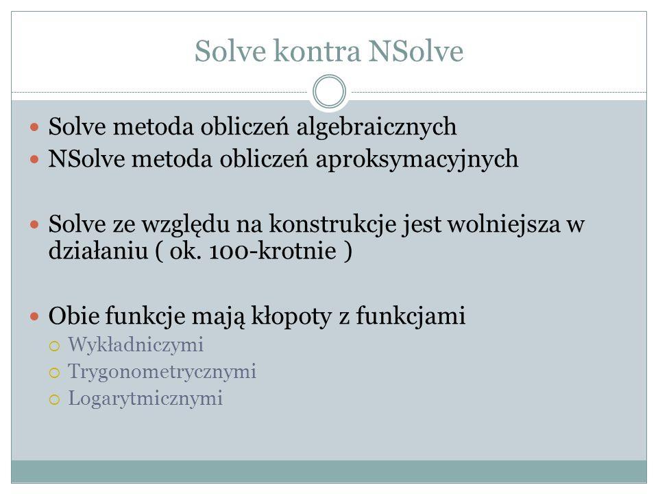 Solve kontra NSolve Solve metoda obliczeń algebraicznych