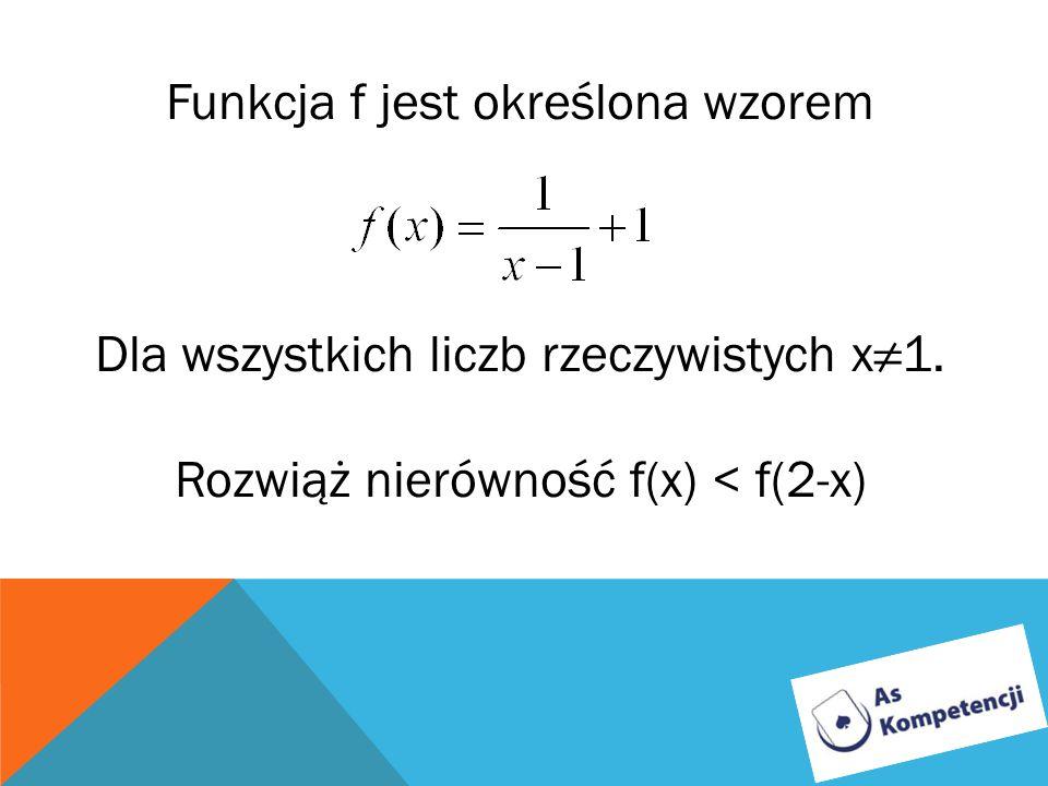Funkcja f jest określona wzorem