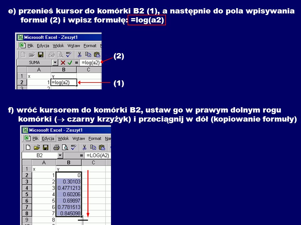 e) przenieś kursor do komórki B2 (1), a następnie do pola wpisywania formuł (2) i wpisz formułę: =log(a2) (2) (1) f) wróć kursorem do komórki B2, ustaw go w prawym dolnym rogu komórki ( czarny krzyżyk) i przeciągnij w dół (kopiowanie formuły)