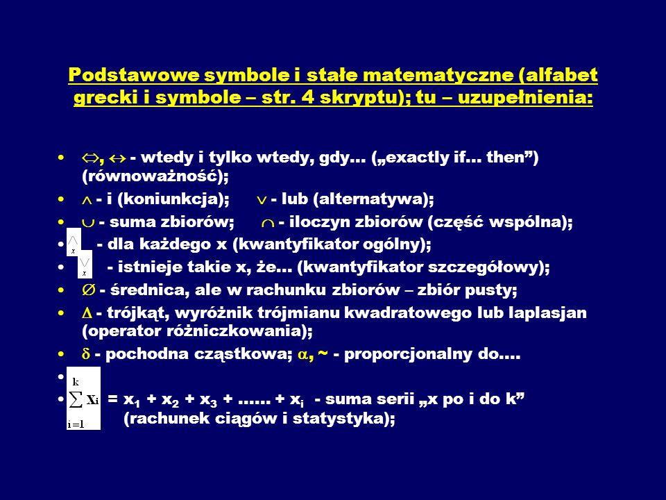 Podstawowe symbole i stałe matematyczne (alfabet grecki i symbole – str. 4 skryptu); tu – uzupełnienia: