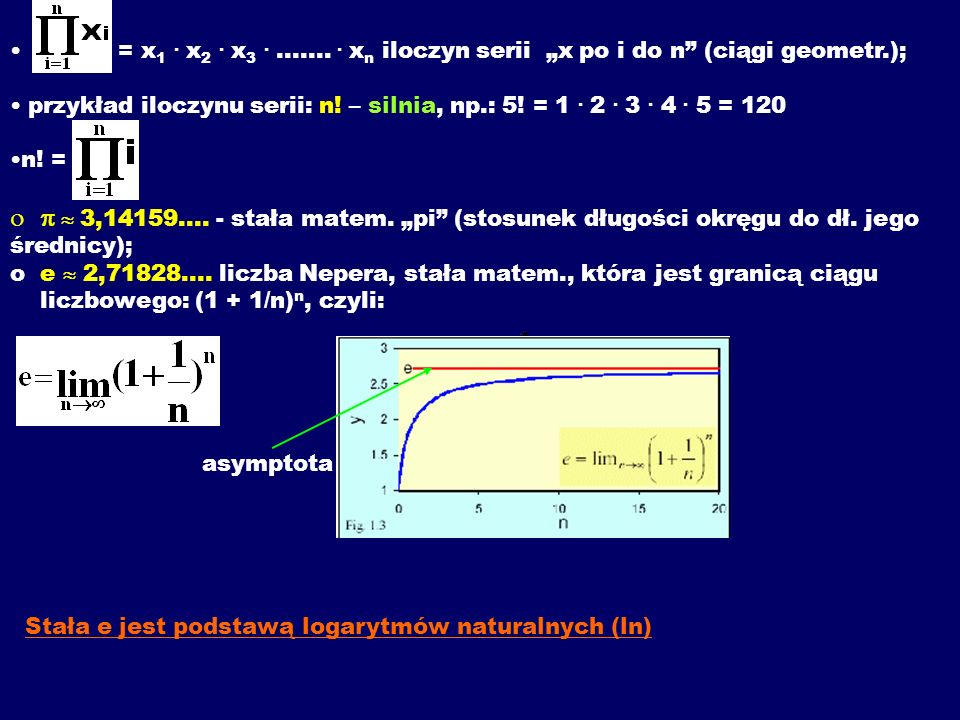 "= x1 . x2 . x3 . ....... . xn iloczyn serii ""x po i do n (ciągi geometr.);"