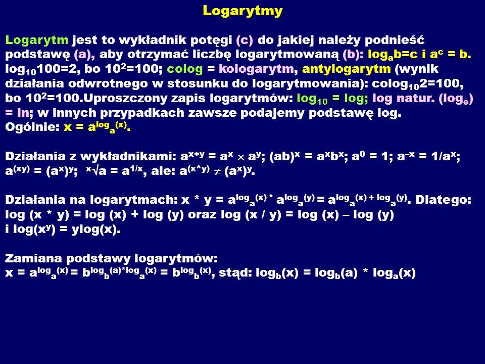 Logarytmy Logarytm jest to wykładnik potęgi (c) do jakiej należy podnieść podstawę (a), aby otrzymać liczbę logarytmowaną (b): logab=c i ac = b.