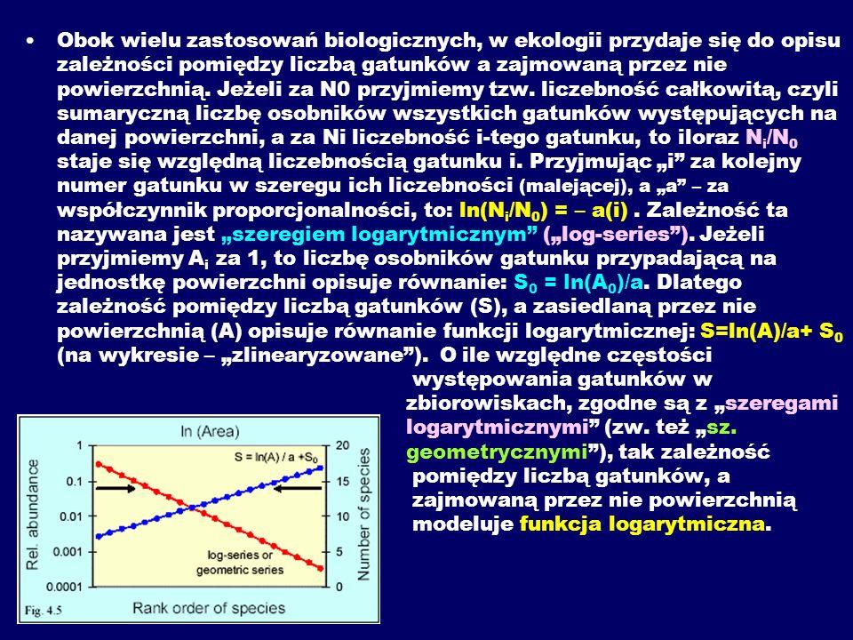 Obok wielu zastosowań biologicznych, w ekologii przydaje się do opisu zależności pomiędzy liczbą gatunków a zajmowaną przez nie powierzchnią.