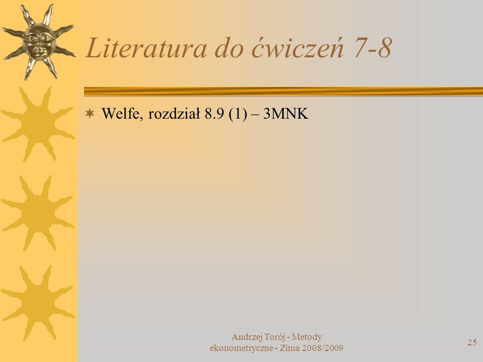Literatura do ćwiczeń 7-8