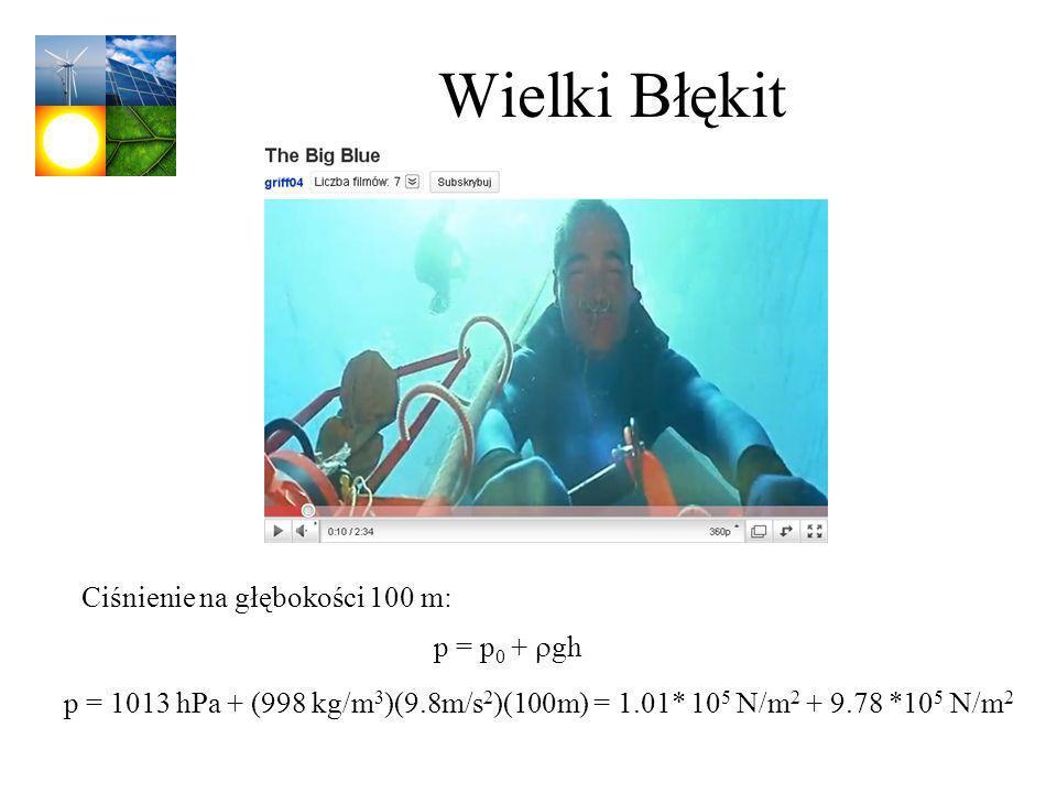 Wielki Błękit Ciśnienie na głębokości 100 m: p = p0 + rgh