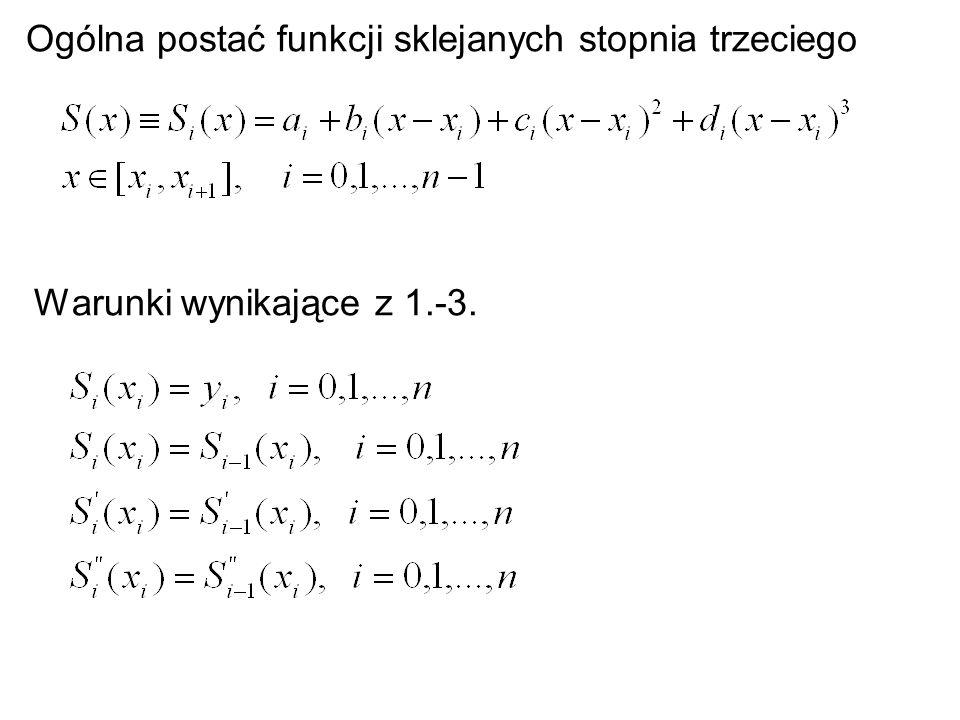 Ogólna postać funkcji sklejanych stopnia trzeciego