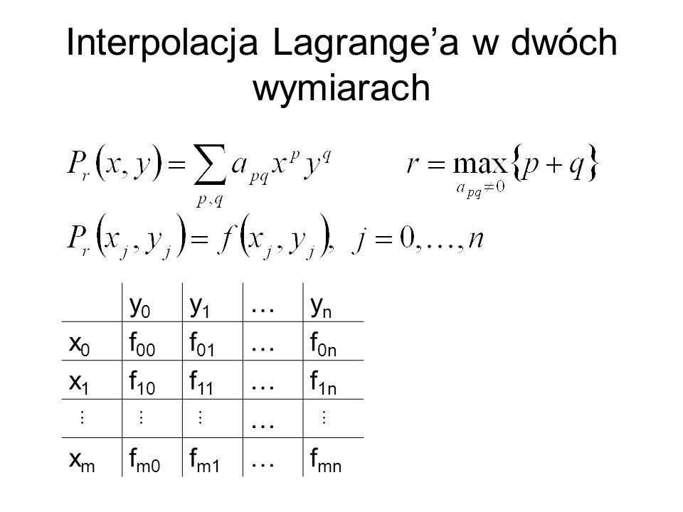 Interpolacja Lagrange'a w dwóch wymiarach