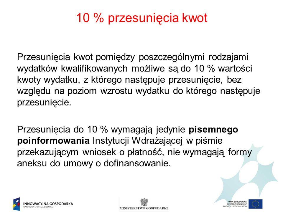 10 % przesunięcia kwot