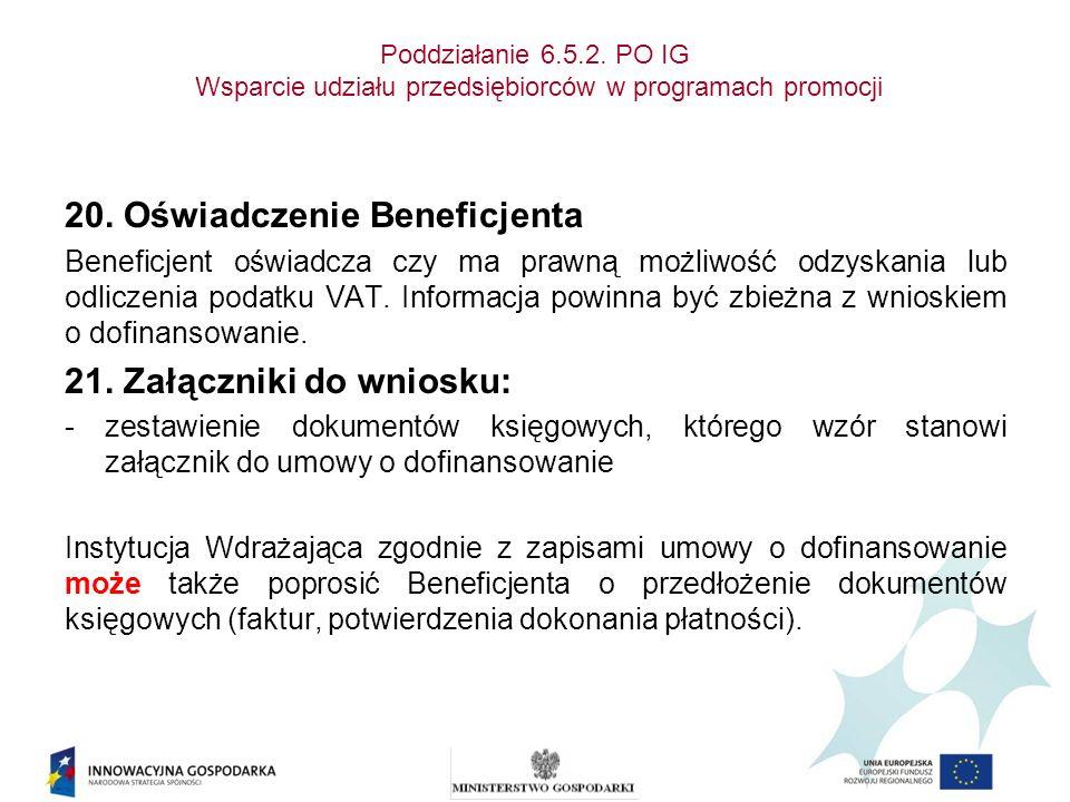 20. Oświadczenie Beneficjenta