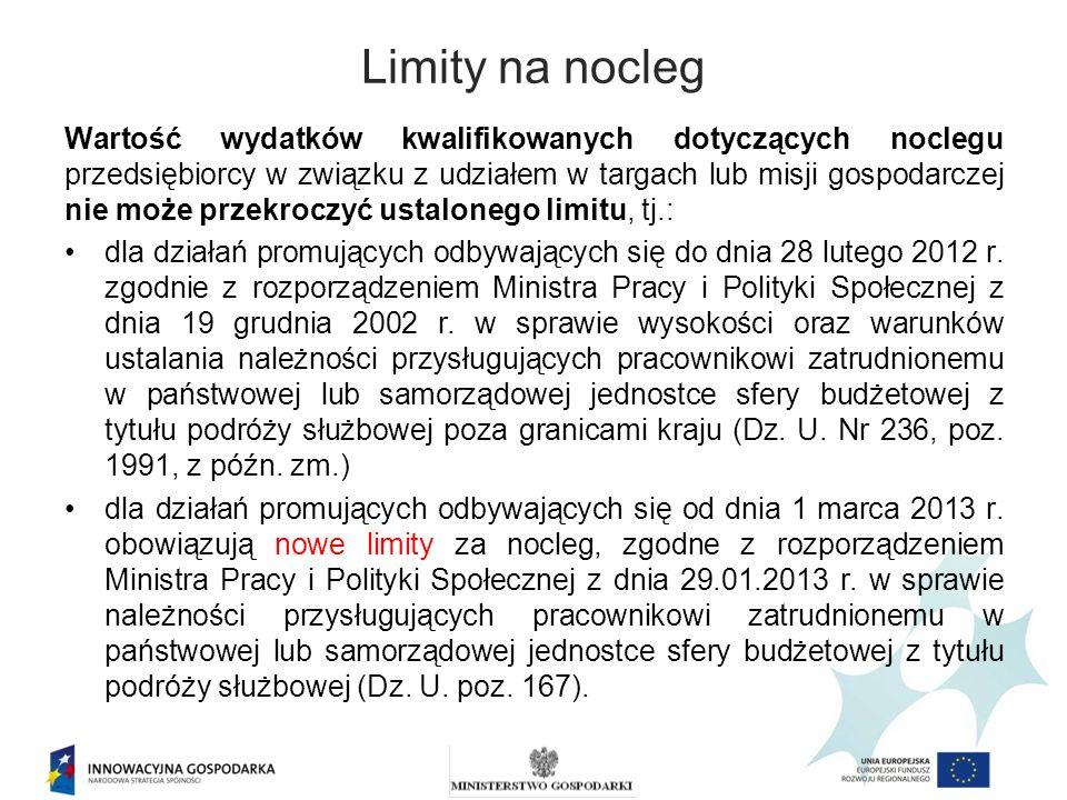 Limity na nocleg