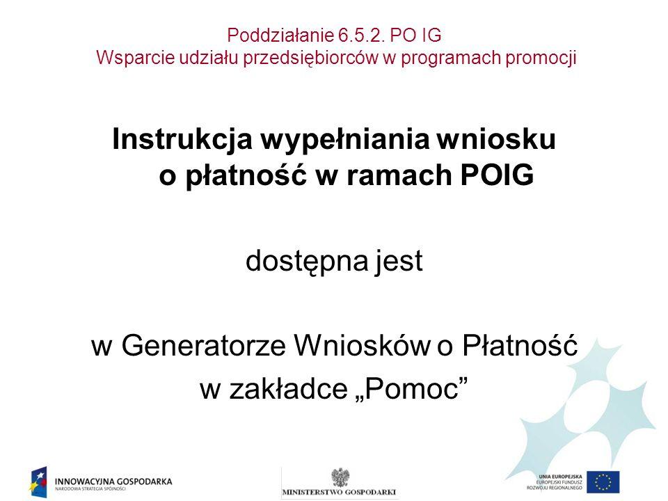 Instrukcja wypełniania wniosku o płatność w ramach POIG