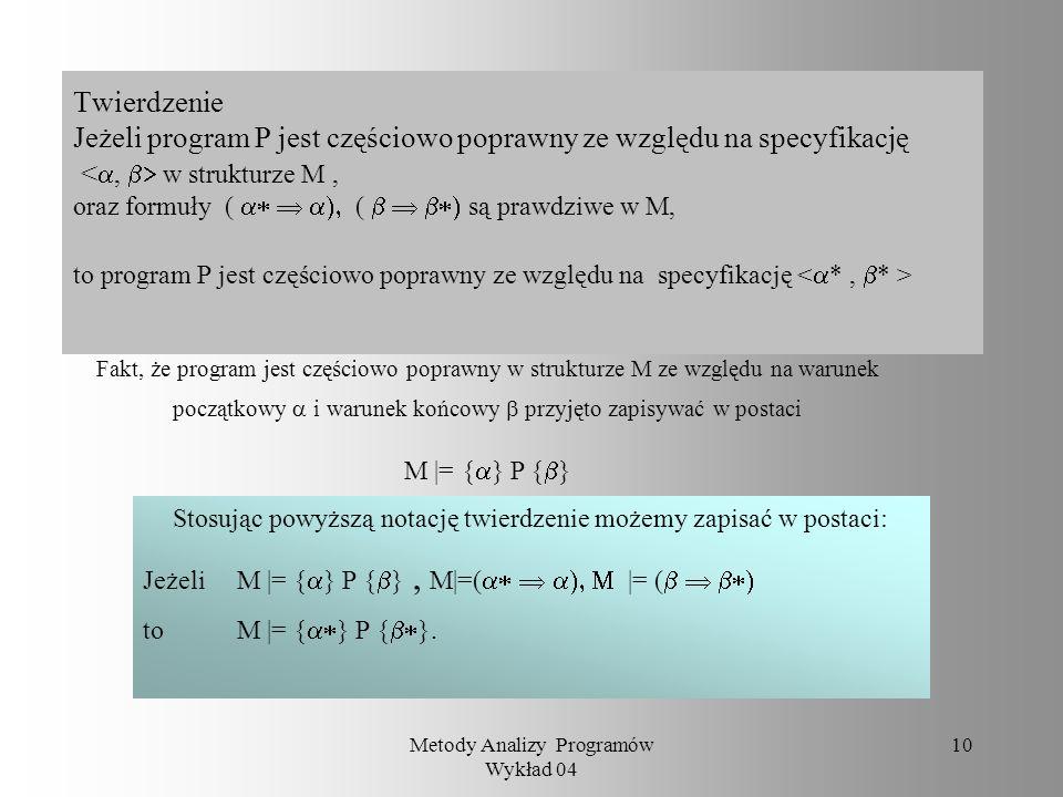 Twierdzenie Jeżeli program P jest częściowo poprawny ze względu na specyfikację <a, b> w strukturze M , oraz formuły ( a*  a), ( b  b*) są prawdziwe w M, to program P jest częściowo poprawny ze względu na specyfikację <a* , b* >