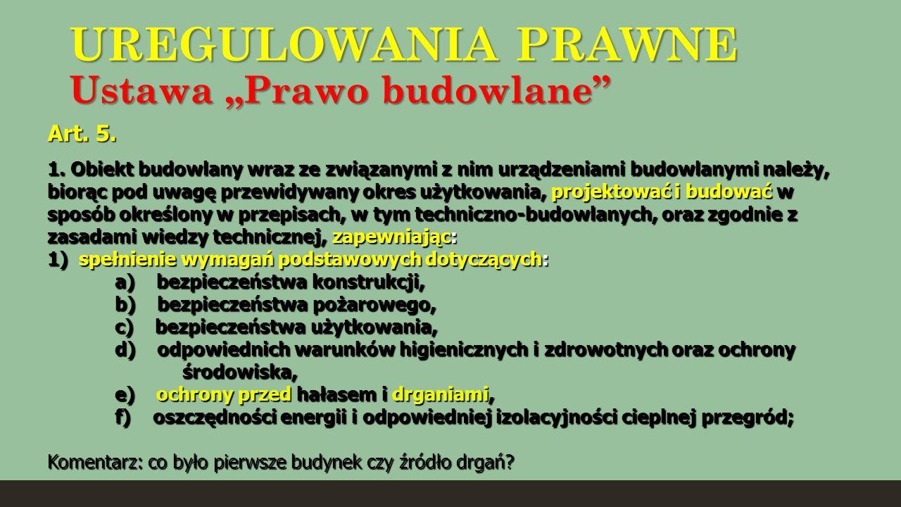 """UREGULOWANIA PRAWNE Ustawa """"Prawo budowlane"""