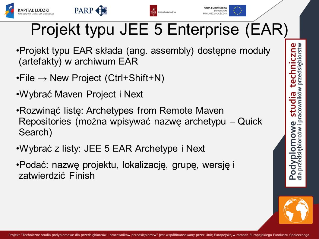 Projekt typu JEE 5 Enterprise (EAR)