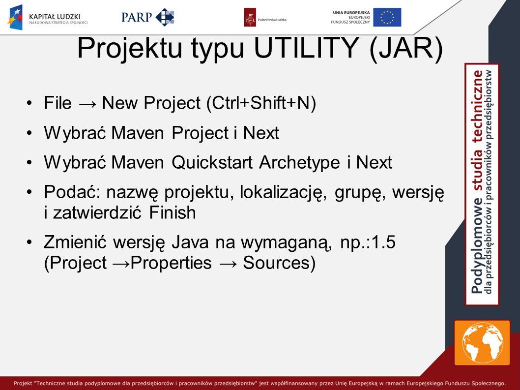 Projektu typu UTILITY (JAR)