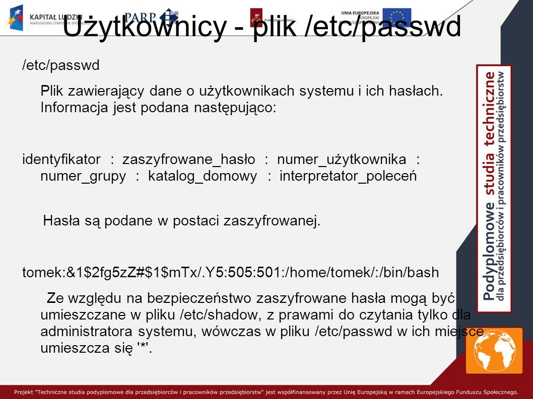 Użytkownicy - plik /etc/passwd