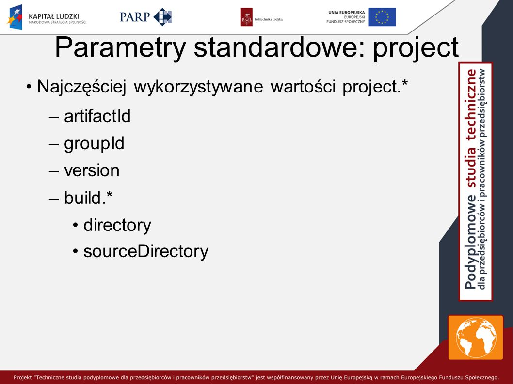 Parametry standardowe: project