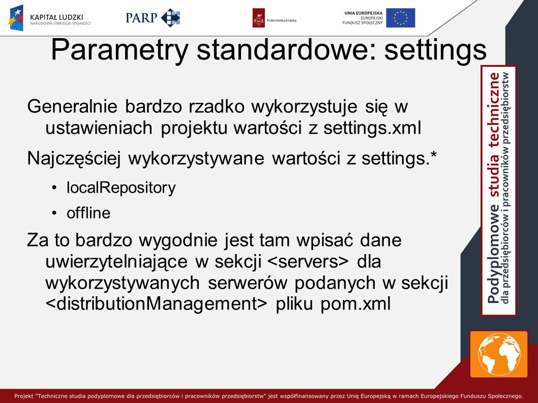 Parametry standardowe: settings