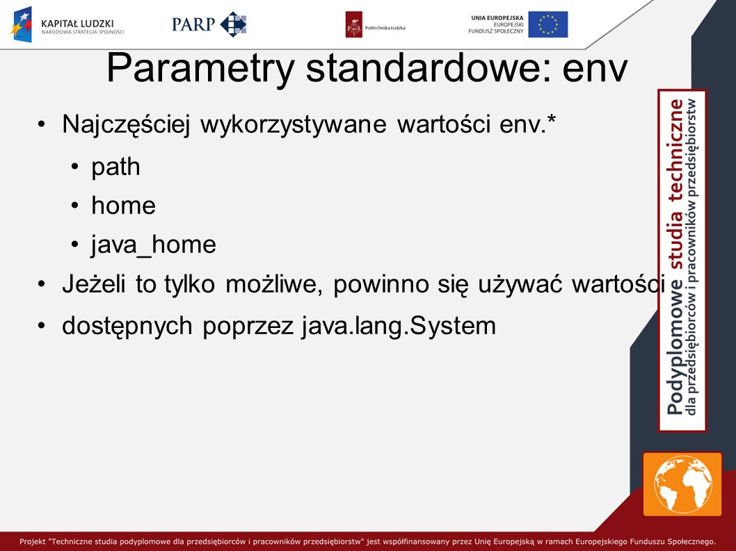Parametry standardowe: env