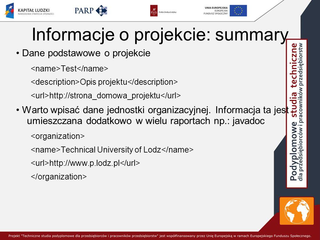 Informacje o projekcie: summary