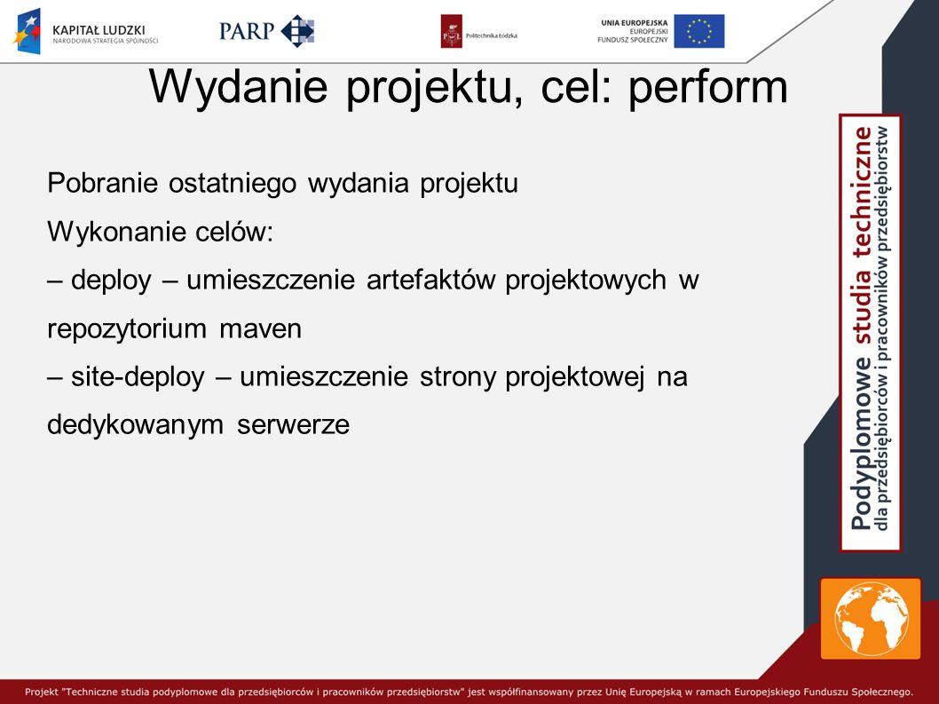 Wydanie projektu, cel: perform