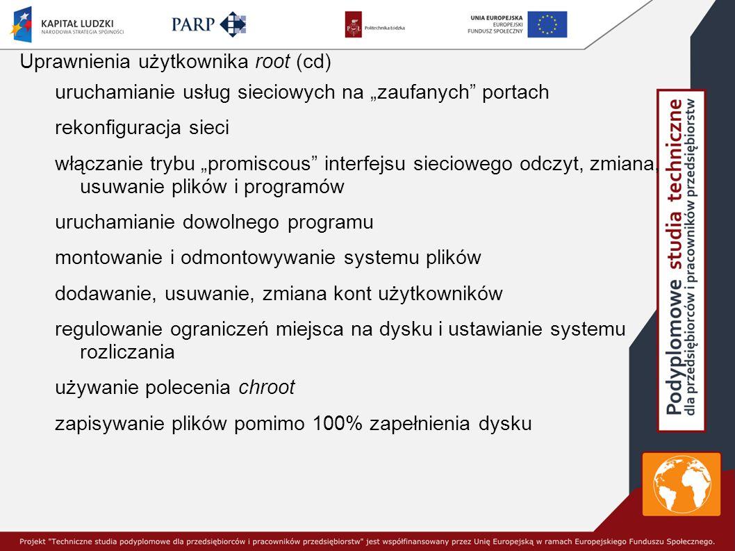 Uprawnienia użytkownika root (cd)