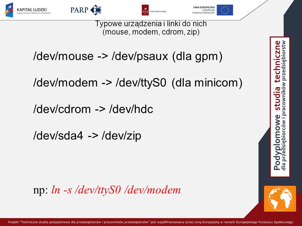 Typowe urządzenia i linki do nich (mouse, modem, cdrom, zip)