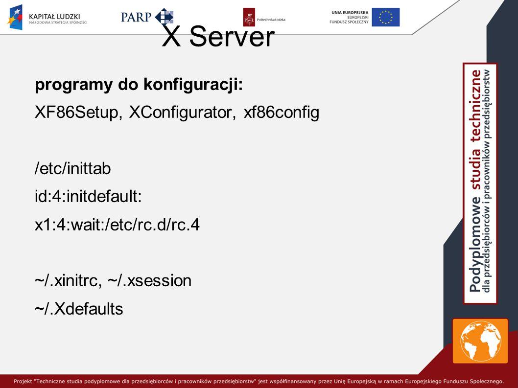 X Server programy do konfiguracji: