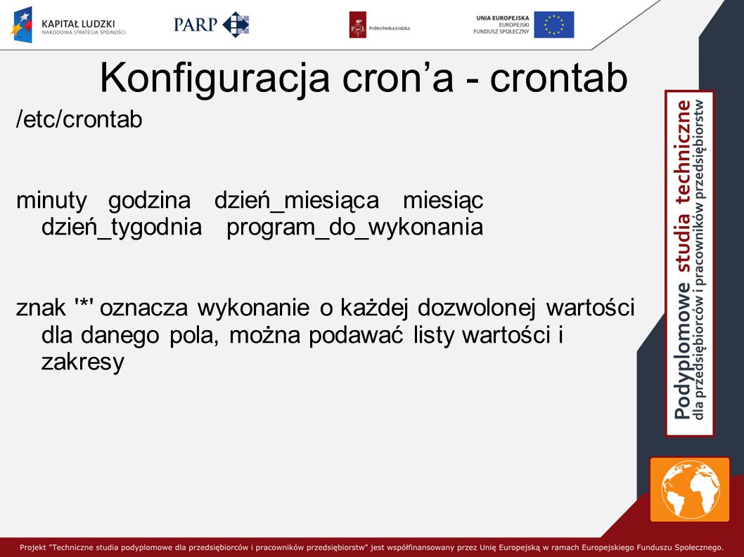 Konfiguracja cron'a - crontab
