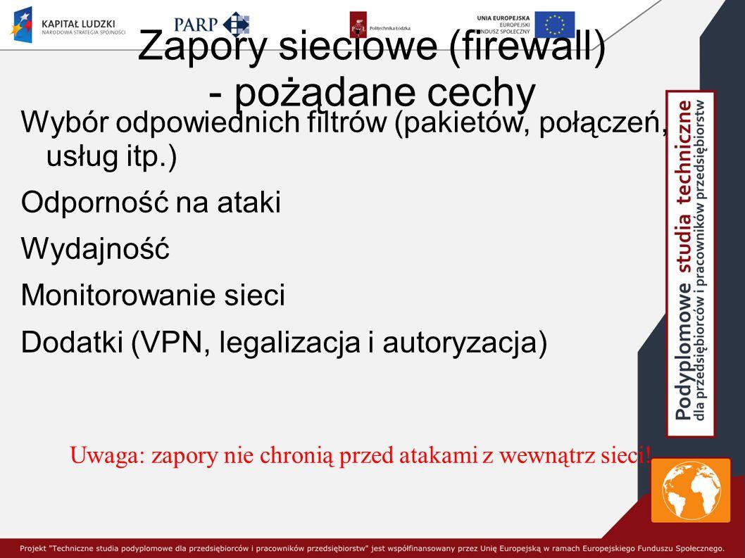Zapory sieciowe (firewall) - pożądane cechy