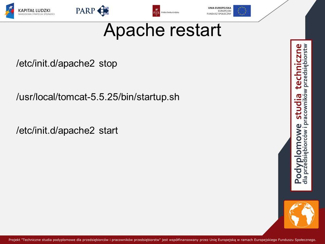 Apache restart /etc/init.d/apache2 stop /usr/local/tomcat-5.5.25/bin/startup.sh /etc/init.d/apache2 start