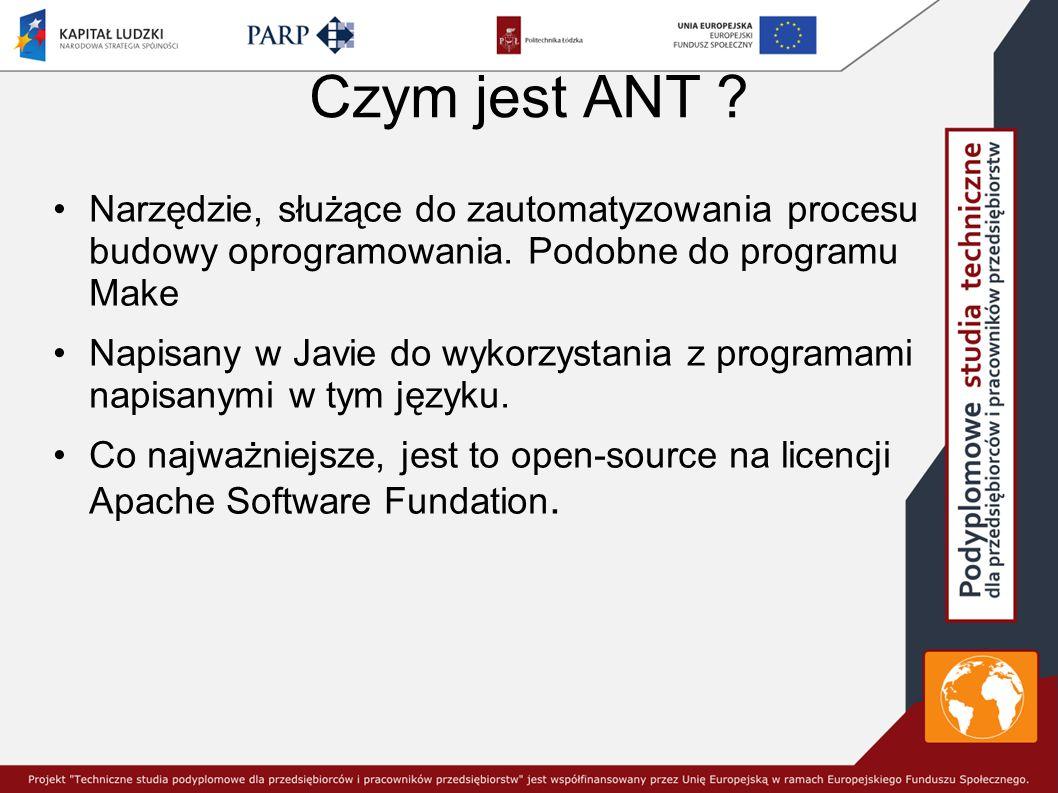 Czym jest ANT Narzędzie, służące do zautomatyzowania procesu budowy oprogramowania. Podobne do programu Make.