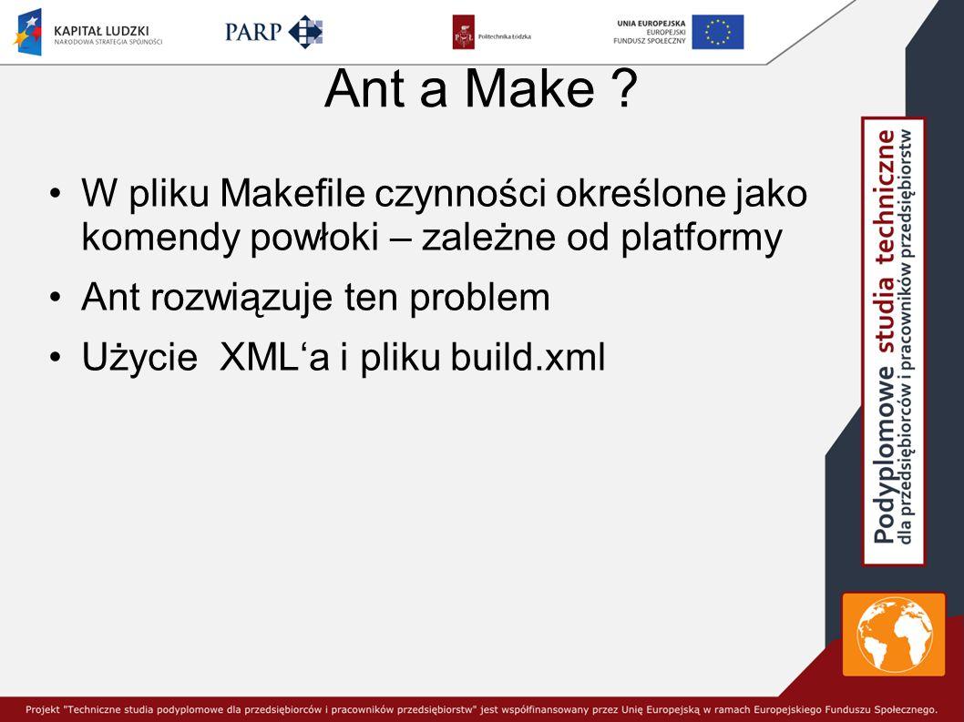 Ant a Make W pliku Makefile czynności określone jako komendy powłoki – zależne od platformy. Ant rozwiązuje ten problem.