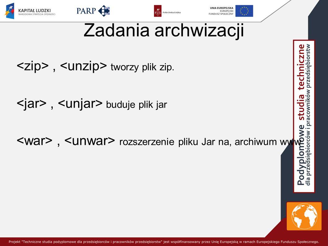 Zadania archwizacji <zip> , <unzip> tworzy plik zip.