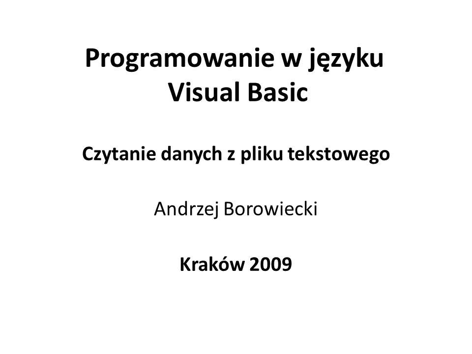 Programowanie w języku Visual Basic